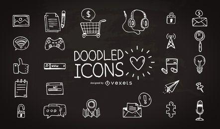 Colección de iconos dibujados a mano