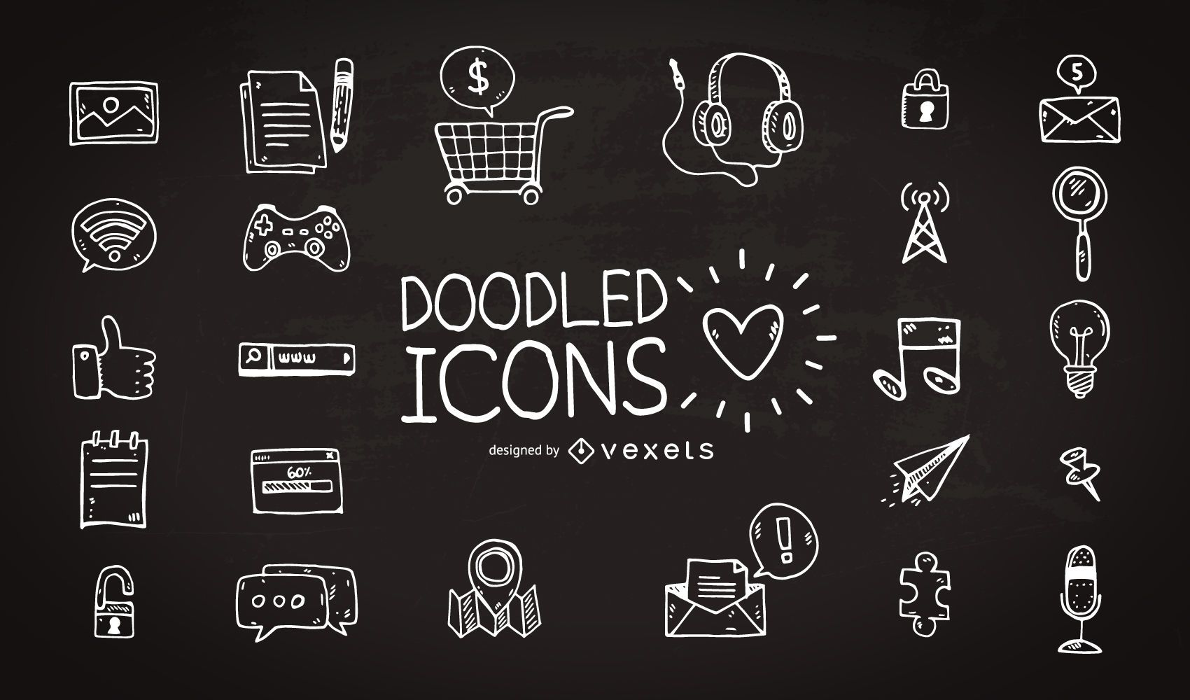 Coleção de ícones desenhados à mão