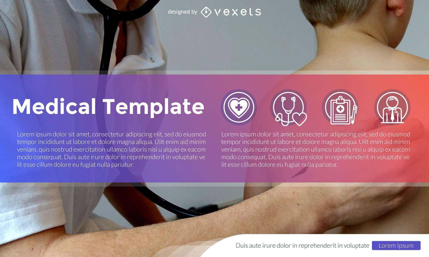 Diseño de plantillas de salud y medicina con iconos