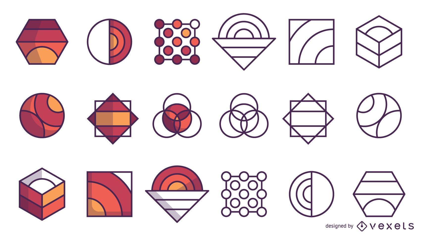 Set of abstract logos in stroke and flat style
