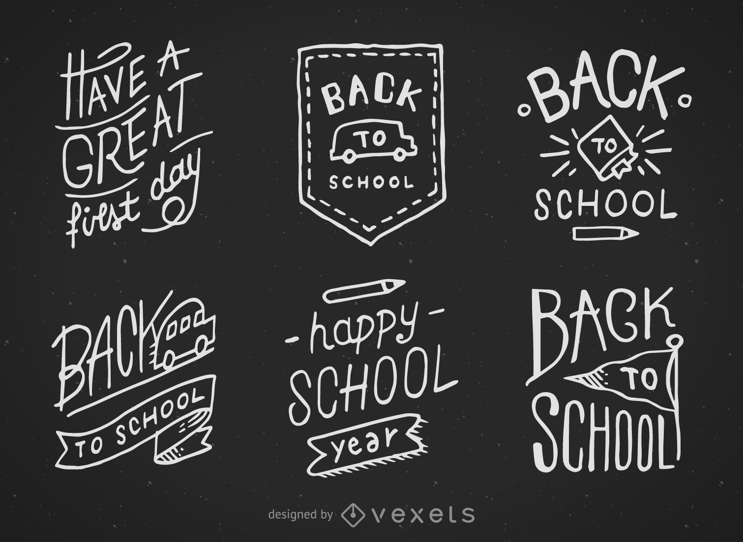 back to school hand drawn chalkboard designs vector download