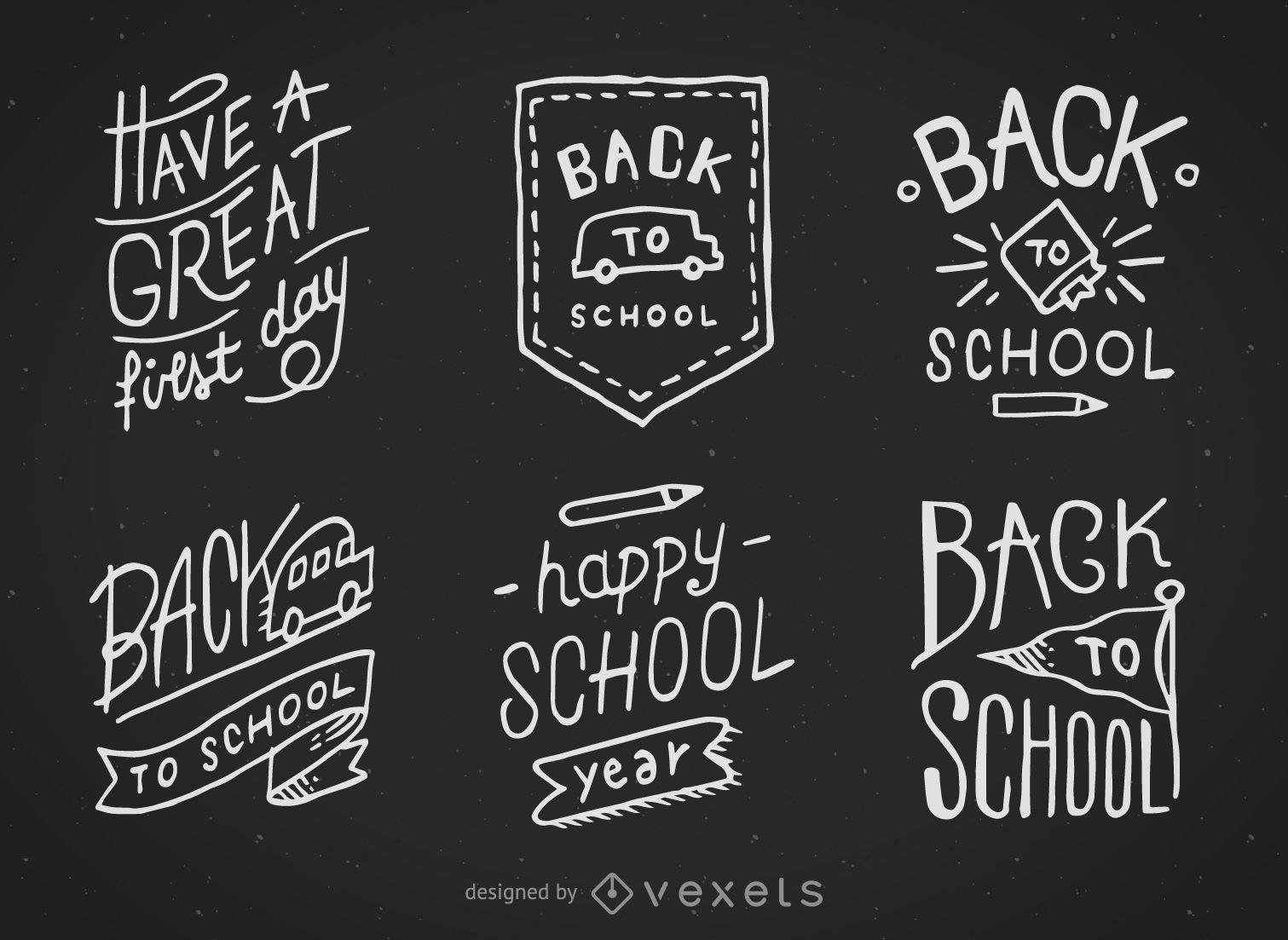 Hand gezeichnete Tafelentwürfe der zurück zur Schule
