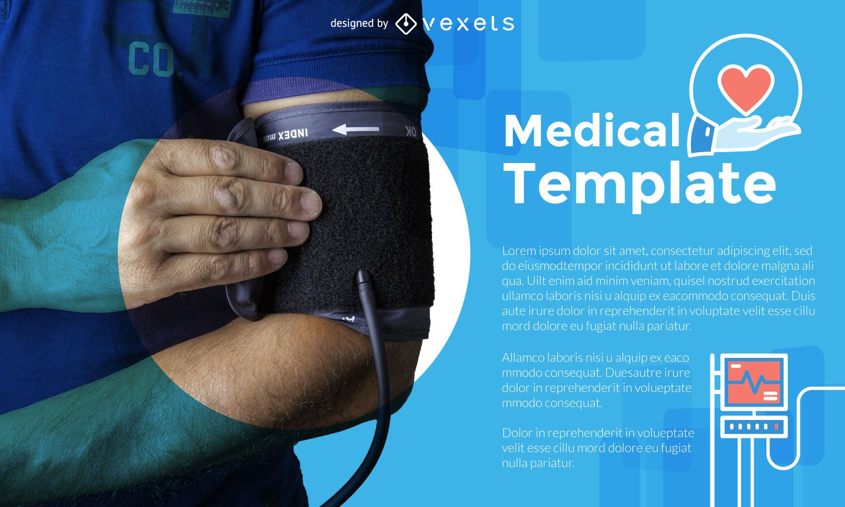 Diseño de plantilla médica con imagen y texto.