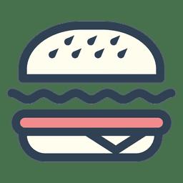 Icono de trazo de comida rápida de hamburguesa