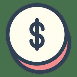 Dollar-Geld-Schlaganfall-Symbol