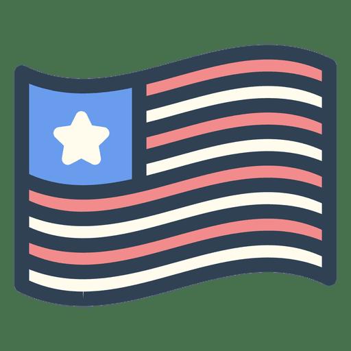 Icono de trazo de bandera de Estados Unidos Transparent PNG