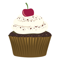 Chocolate cupcake cherry illustration