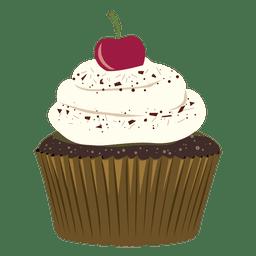 Ilustración de chocolate cupcake cereza