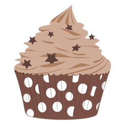 Chocolate frosting cupcake illustration