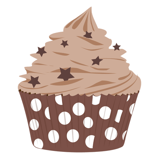 Chocolate frosting cupcake illustration Transparent PNG