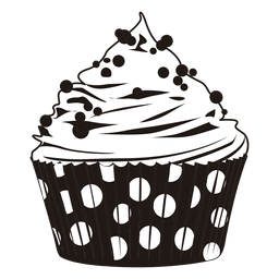 Cupcake illustration with dots