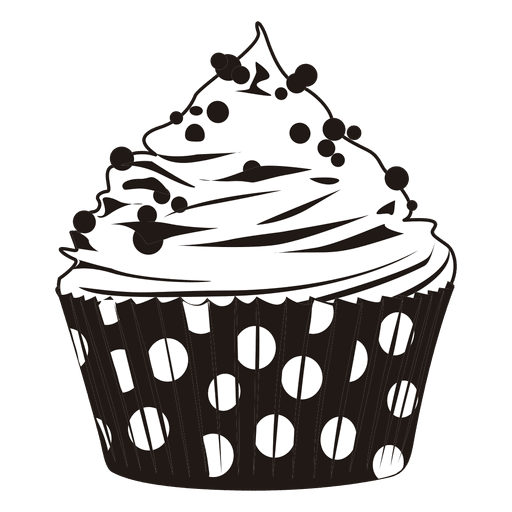 Cupcake illustration with dots Transparent PNG