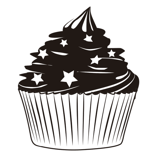Cupcake illustration with stars Transparent PNG