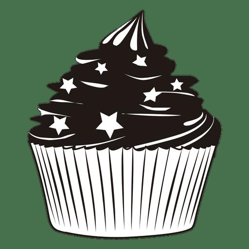 Ilustração de cupcake com estrelas Transparent PNG