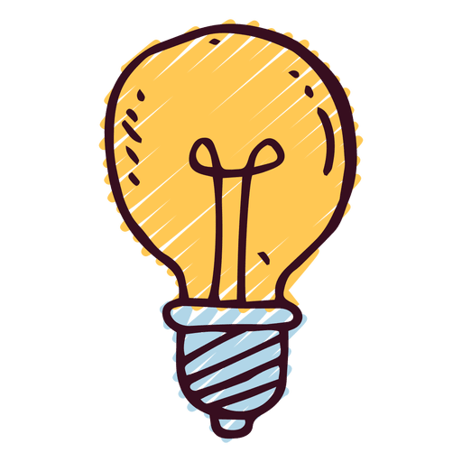 Lightbulb doodle icon Transparent PNG