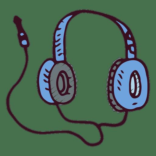 Auriculares de la música del doodle Transparent PNG