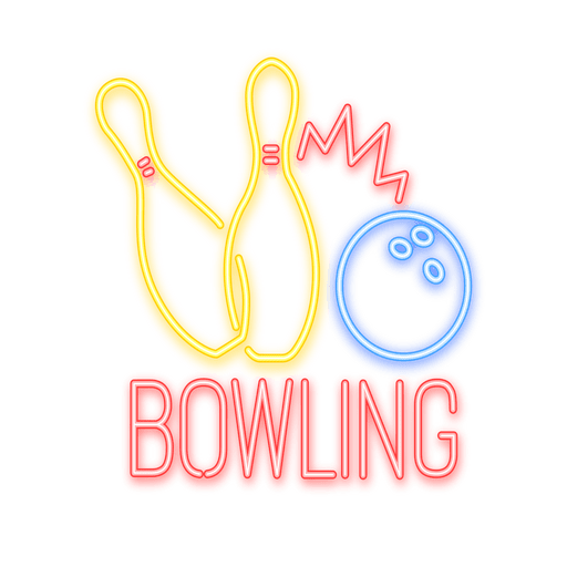 Neon Bowling Sign  Transparent PNG