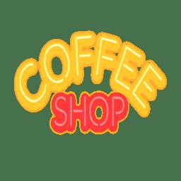 Letrero de cafe neón