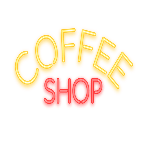 Letrero de neón café Transparent PNG