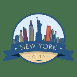 Vector de insignia de horizonte de Nueva York