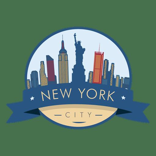 Vector de insignia de horizonte de Nueva York Transparent PNG