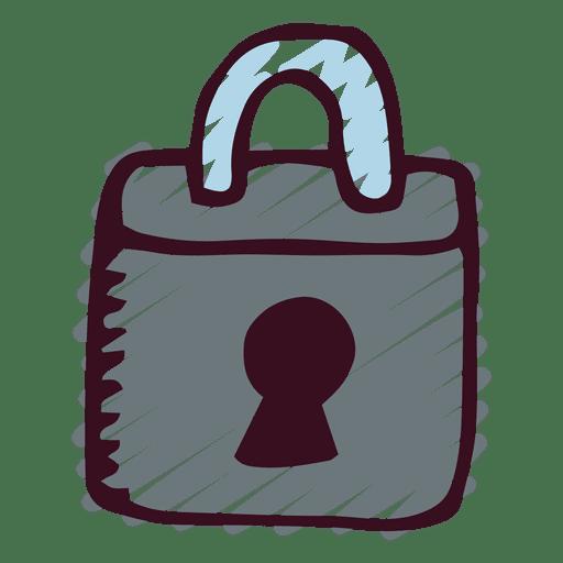 Icono de doodle de candado Transparent PNG