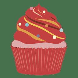 Ilustração de queque de veludo vermelho