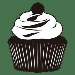 Silueta, de, cupcake, ilustração