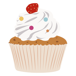 Vanilla garnish cupcake illustration