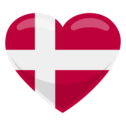 Bandeira do coração de Dinamarca Transparent PNG