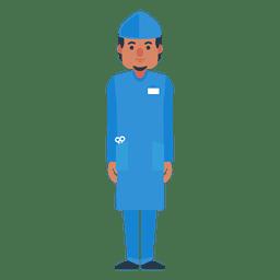 Personaje médico masculino plano