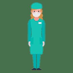 Personaje de enfermera plana
