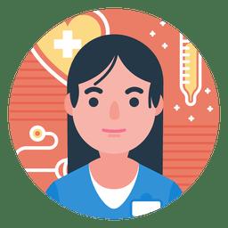 Emblema de personagem de enfermeira plana