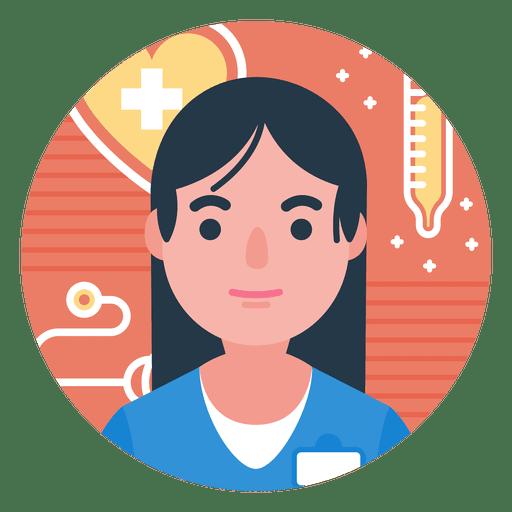 Flat nurse character badge Transparent PNG