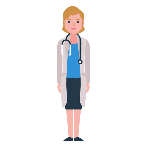 Flat woman doctor character
