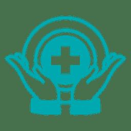 Símbolo de cruz para cuidados com as mãos