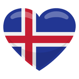 Bandeira do coração de Islândia