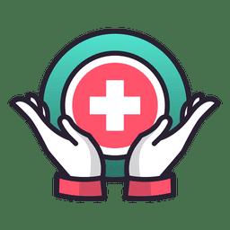 As mãos de cuidados médicos cruzam