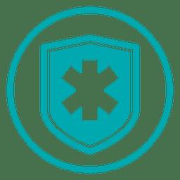 Ícone de escudo transversal médico