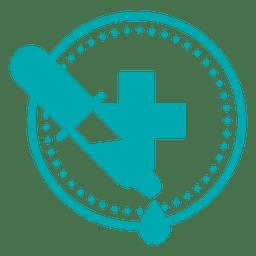 Médico, símbolo, cuentagotas, cruz
