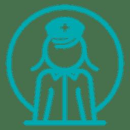 Enfermeira, perfil, ícone