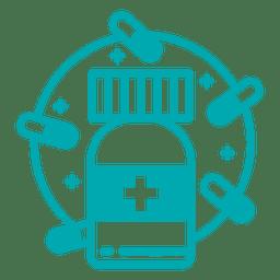 Píldoras botella icono