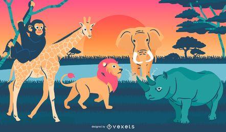 Animales salvajes ilustración paisaje