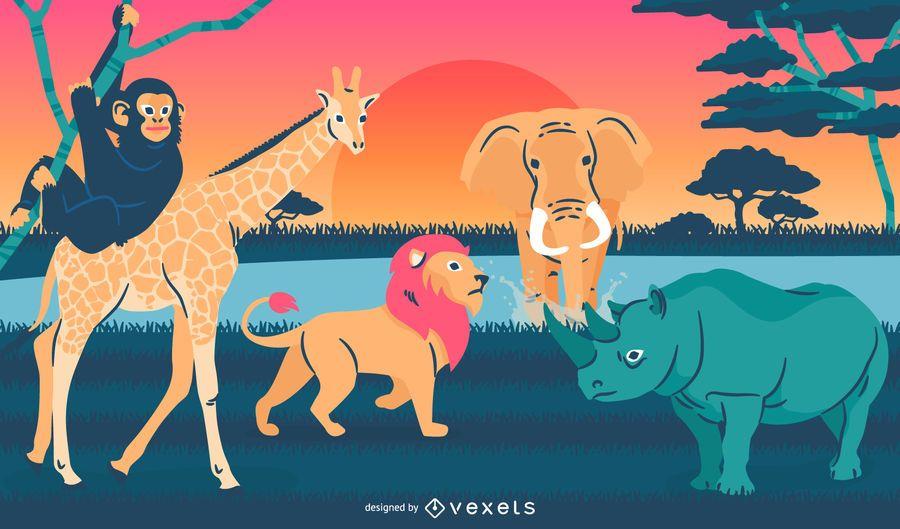 Wilde Tiere Abbildung Landschaft
