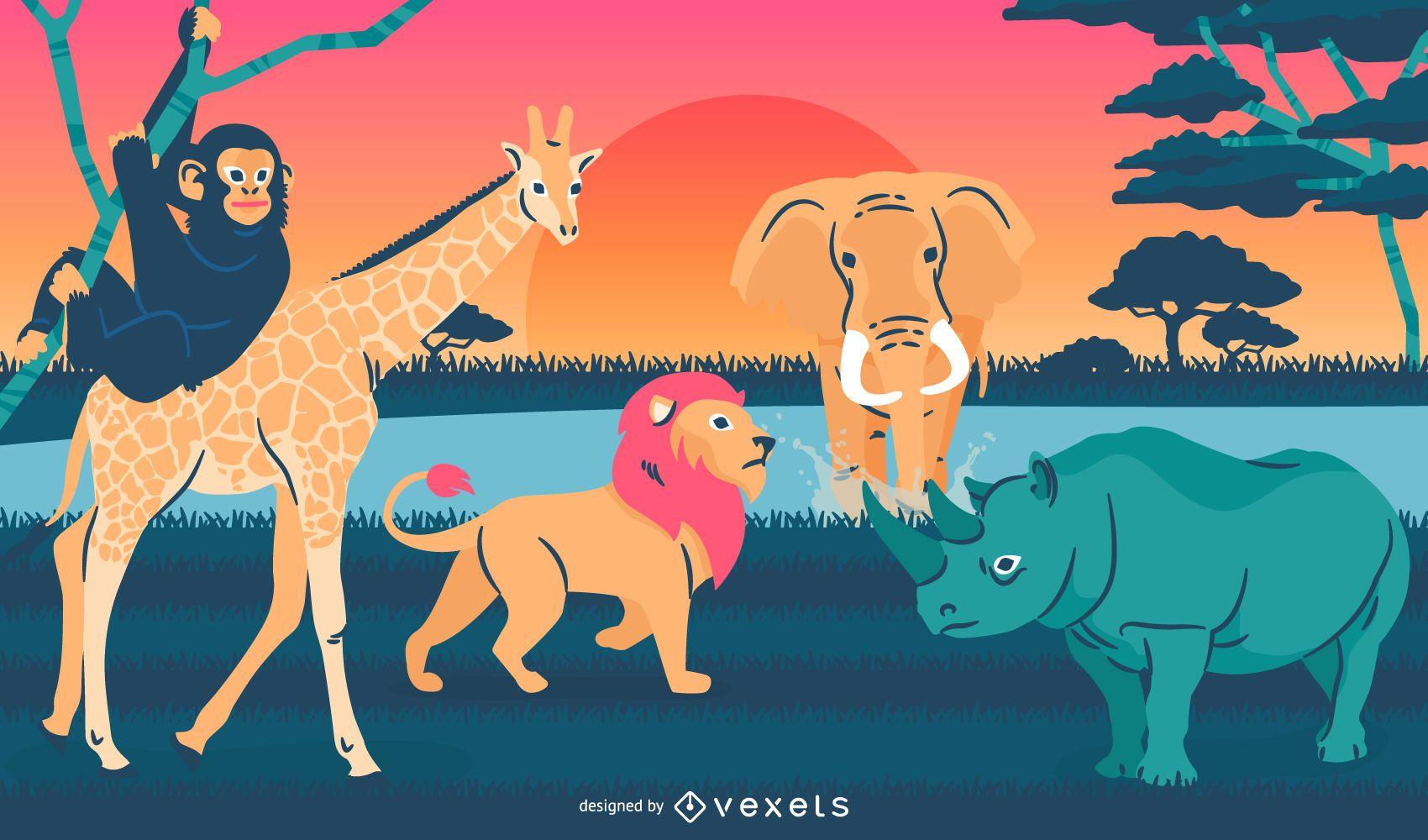 Wild animals illustration landscape