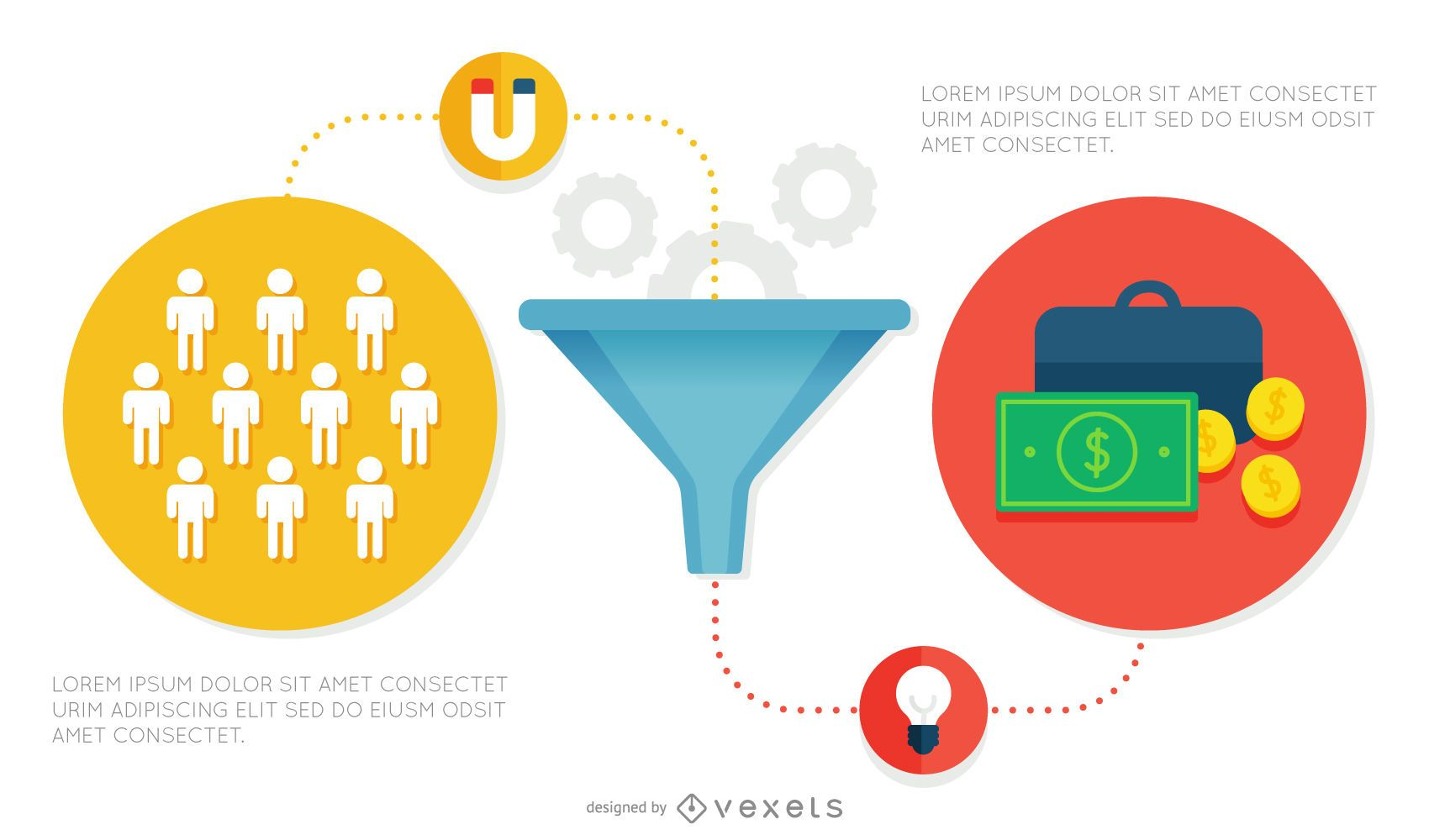 Flat funnel infographic asset