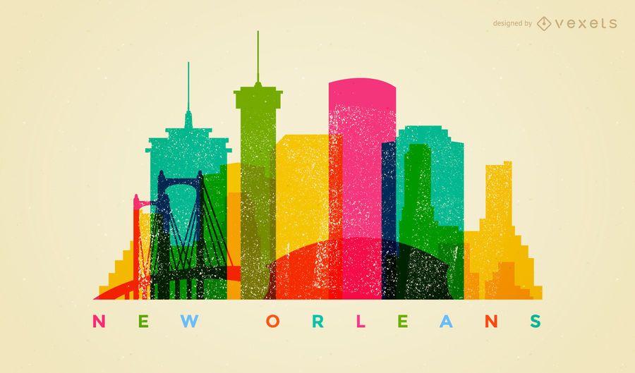 Colorido horizonte de Nueva Orleans