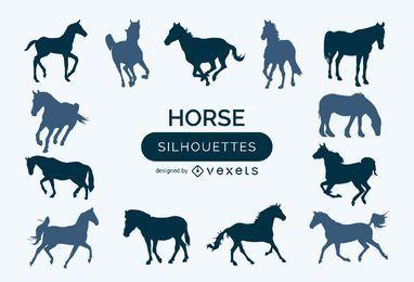 Conjunto de silhuetas de cavalos