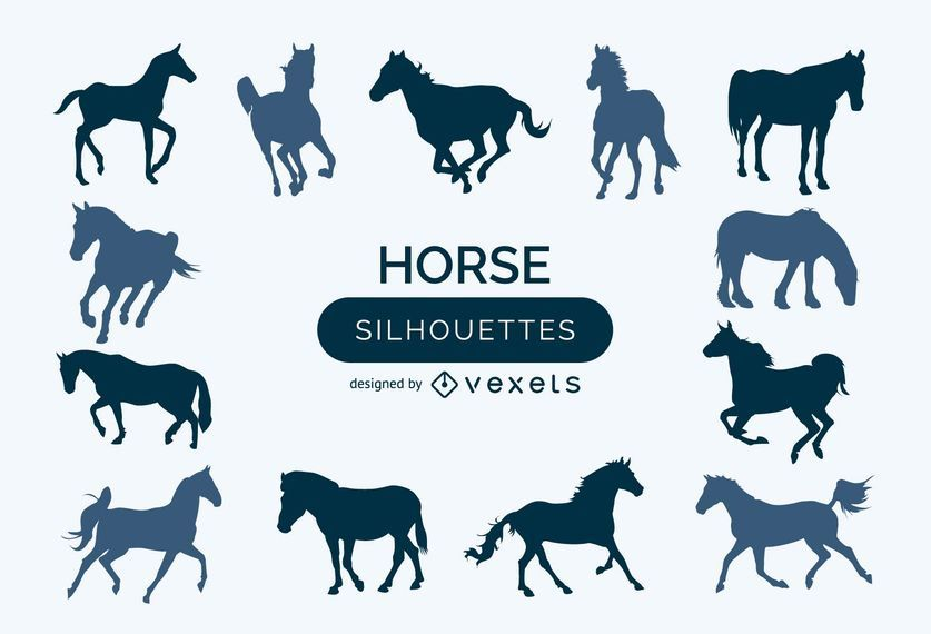 Set of horse silhouettes