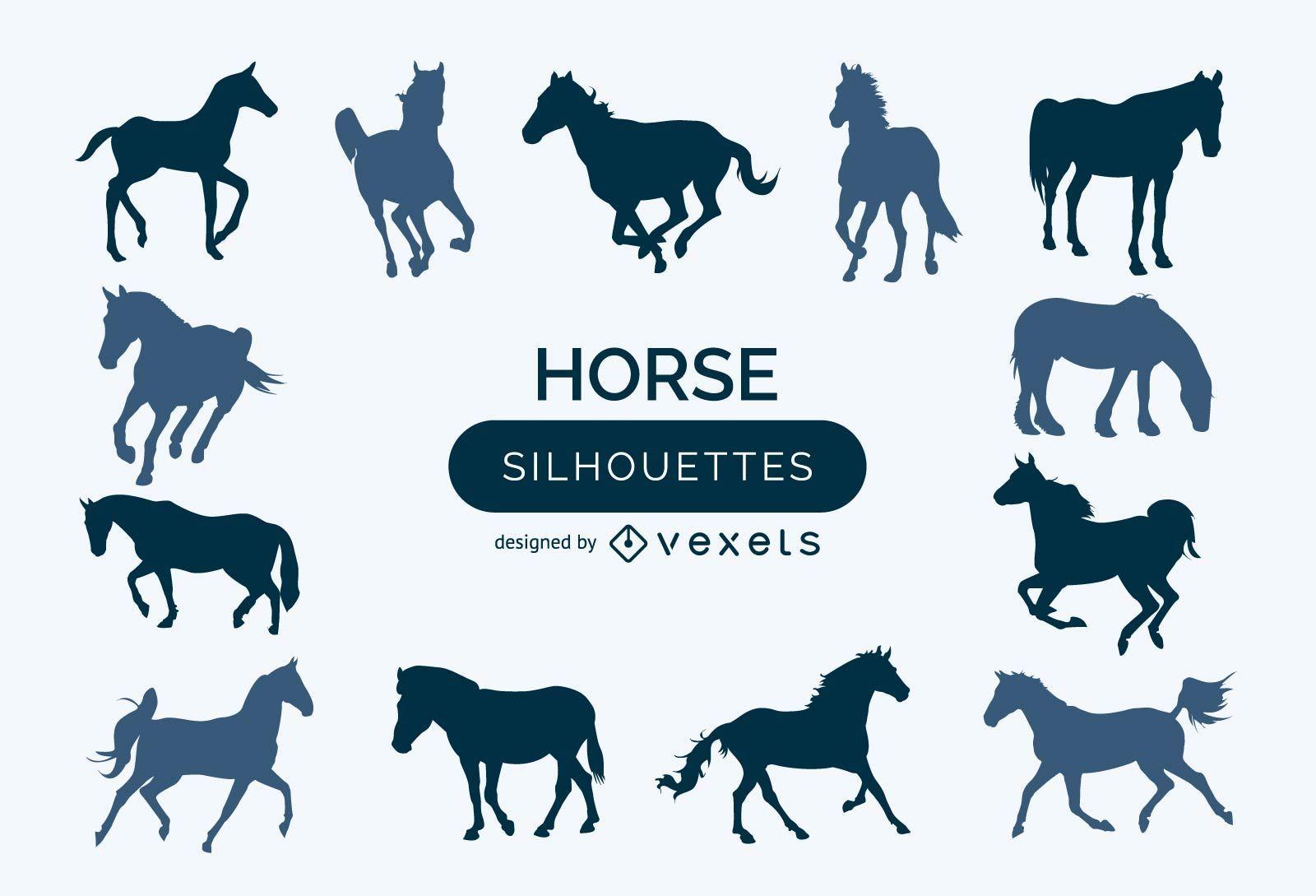Satz von Pferdesilhouetten